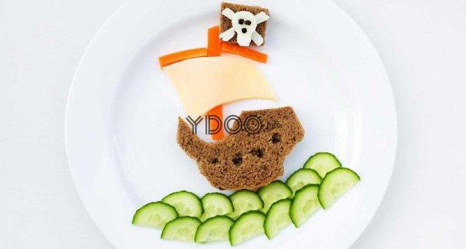 бутерброд у вигляді піратського корабля з хліба, сиру, огірків і перцю